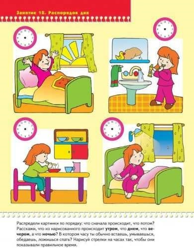 Распорядок дня в картинках для дошкольника 001