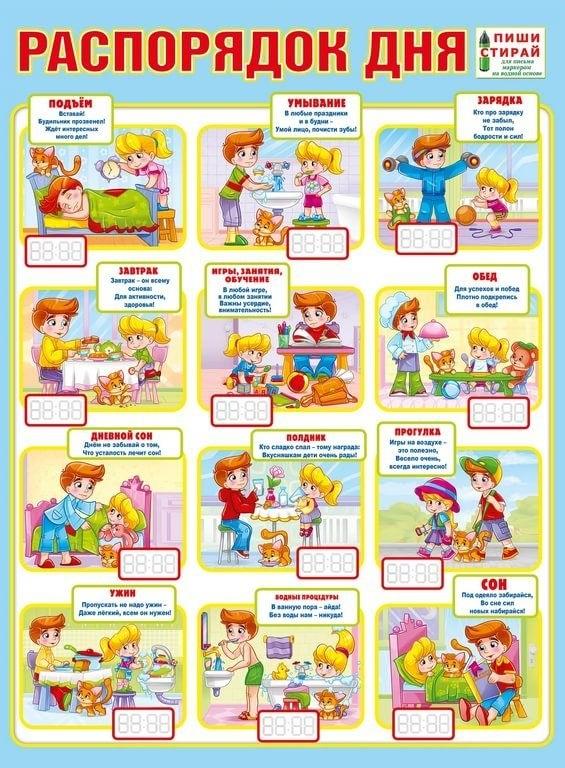 Распорядок дня в картинках для дошкольника 019