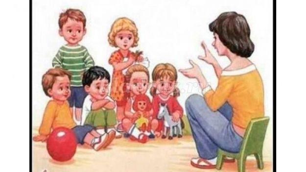 Рисунки воспитатель и дети в детском саду 001
