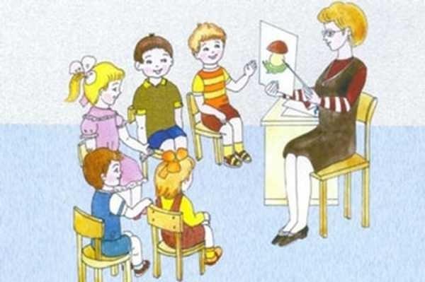 Рисунки воспитатель и дети в детском саду 002
