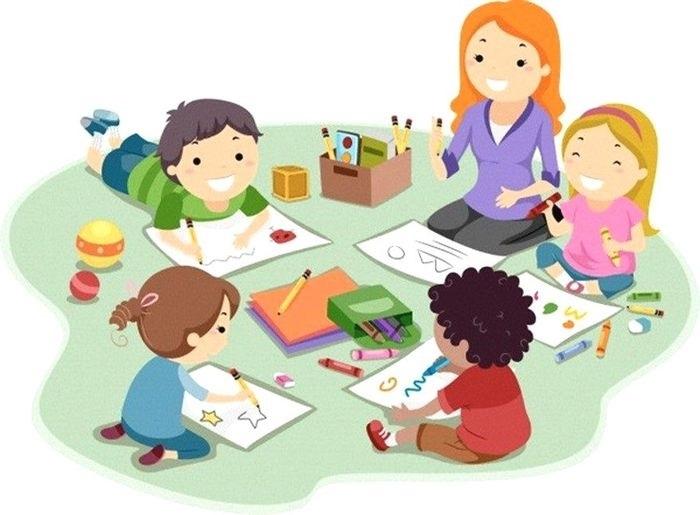 Рисунки воспитатель и дети в детском саду 006