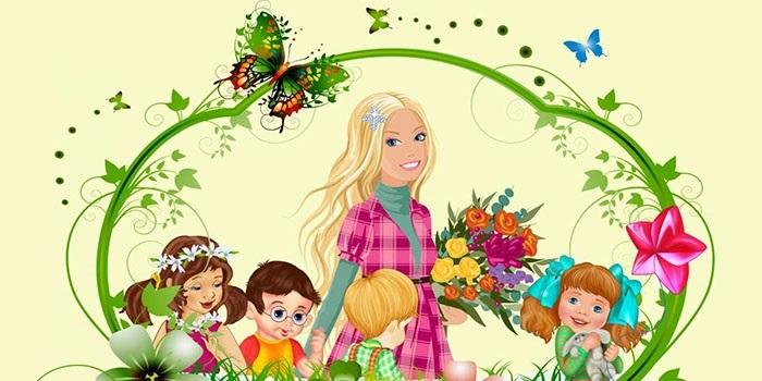 Рисунки воспитатель и дети в детском саду 010