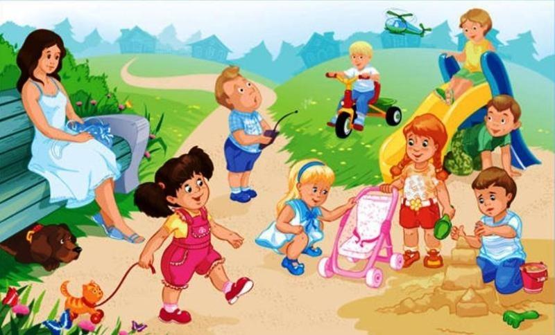 Рисунки воспитатель и дети в детском саду 014
