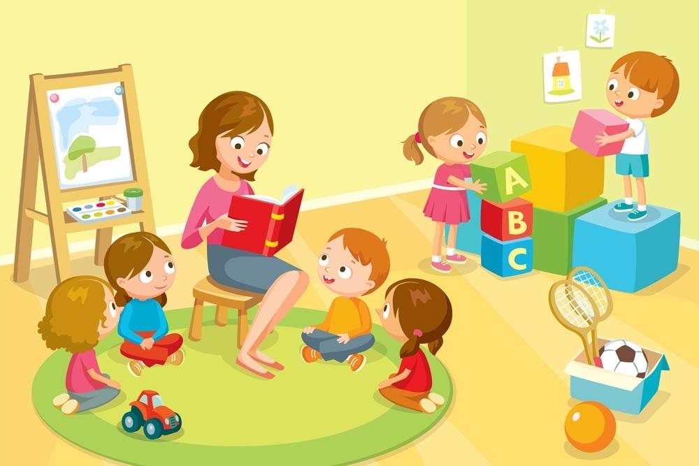 Рисунки воспитатель и дети в детском саду 015