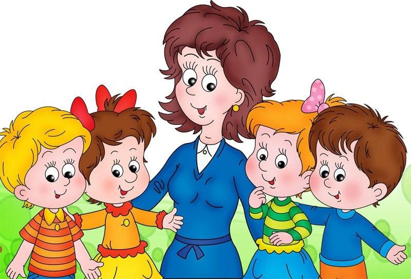 Рисунки воспитатель и дети в детском саду 017