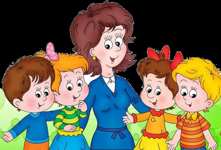 Рисунки воспитатель и дети в детском саду 018
