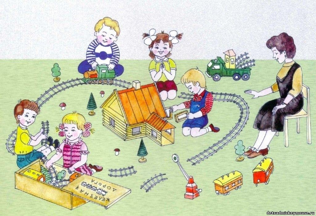 Рисунки воспитатель и дети в детском саду 023