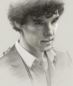 Рисунок Шерлока Холмса карандашом поэтапно 023