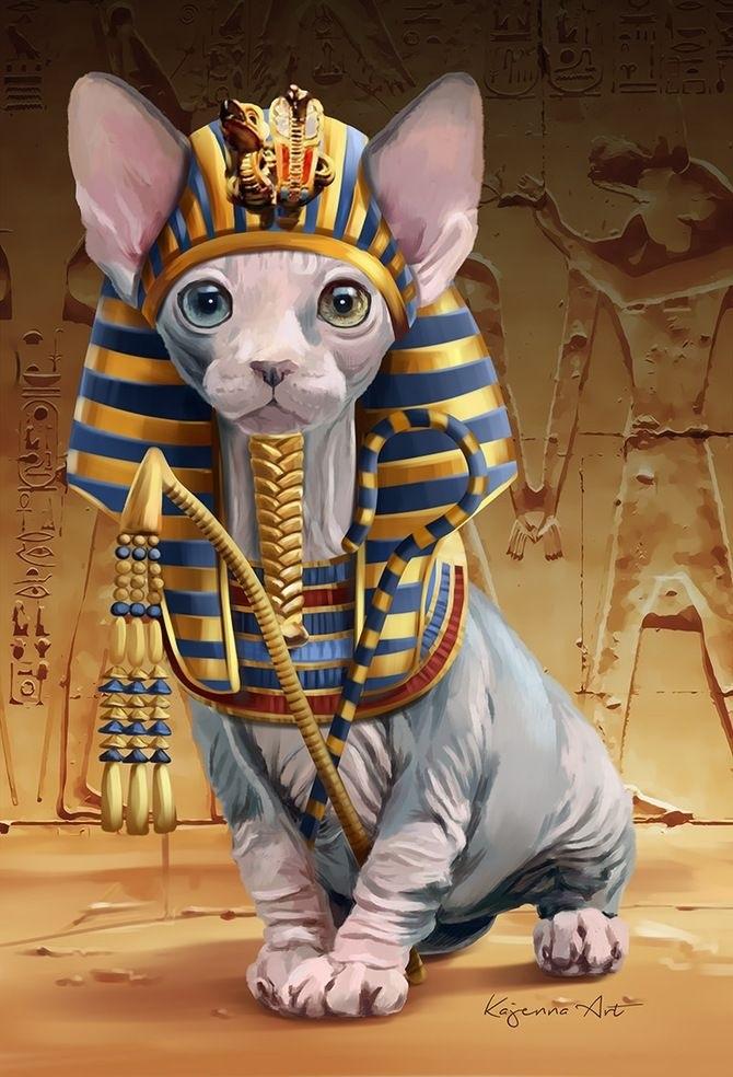 Рисунок египетской кошки 002