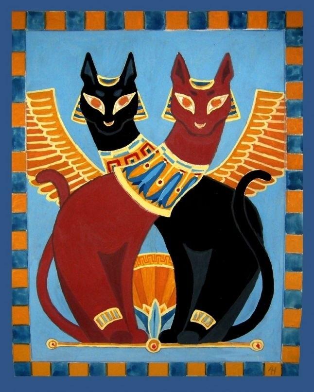 Рисунок египетской кошки 006