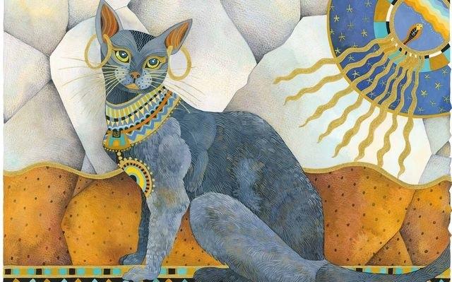Рисунок египетской кошки 007