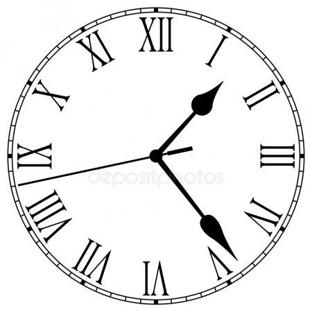 Рисунок часов с римскими цифрами 007