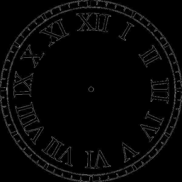 Рисунок часов с римскими цифрами 012