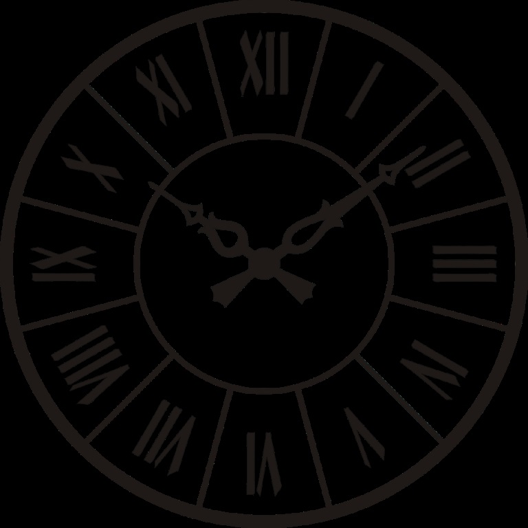 Рисунок часов с римскими цифрами 014