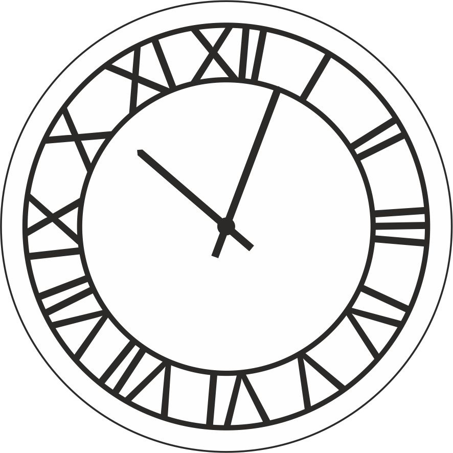 Рисунок часов с римскими цифрами 017