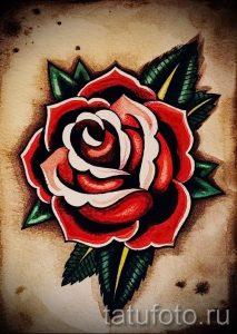 Роза эскиз тату олд скул 020