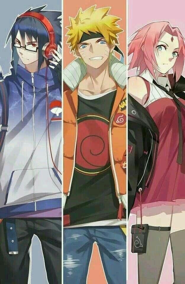 Сакура, Саске и Наруто аниме картинки 017