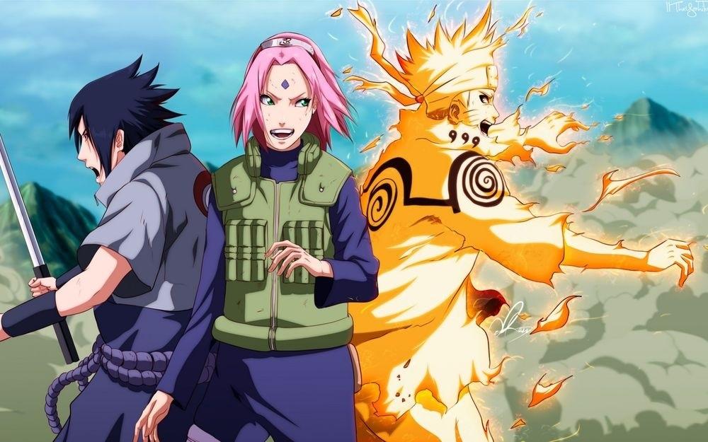 Сакура, Саске и Наруто аниме картинки 022