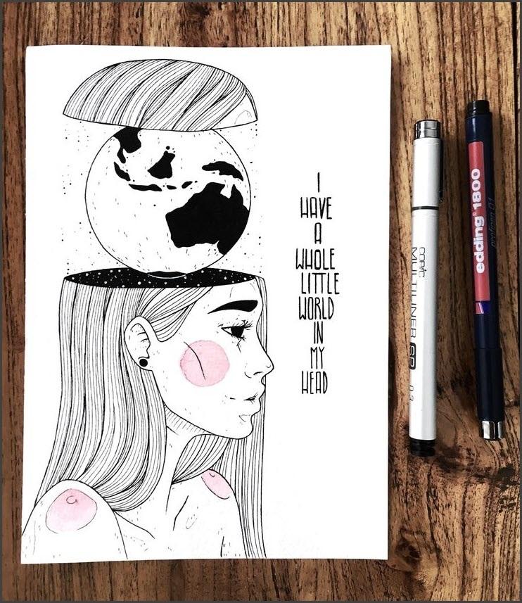 Скетчбук рисунки черной ручкой для начинающих 018