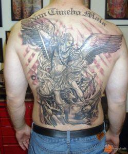 Тату михаила архангела на спине 023