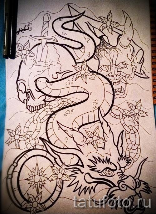 Тату рукава дракон эскизы 023