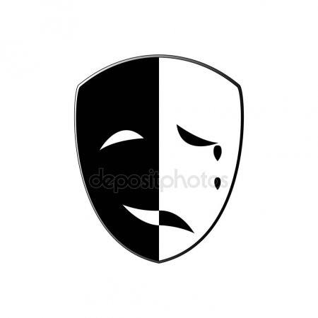 Театральные маски черно белые картинки 001