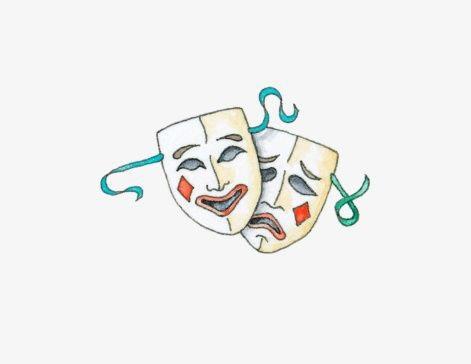 Театральные маски черно белые картинки 002