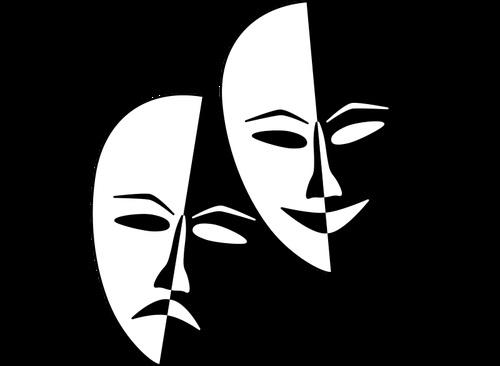 Театральные маски черно белые картинки 003