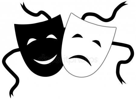 Театральные маски черно белые картинки 004