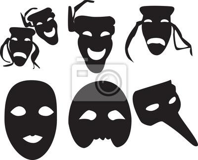 Театральные маски черно белые картинки 007