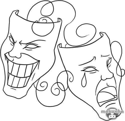 Театральные маски черно белые картинки 012