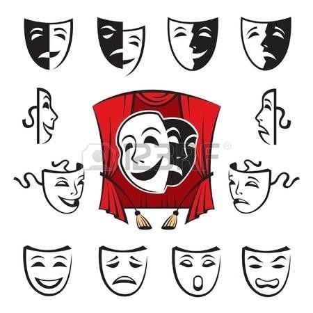 Театральные маски черно белые картинки 013