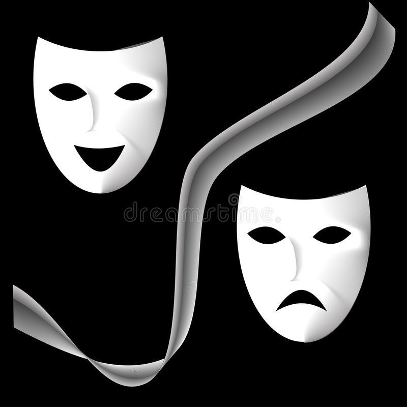Театральные маски черно белые картинки 014