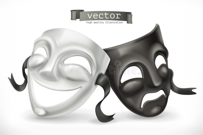 Театральные маски черно белые картинки 016