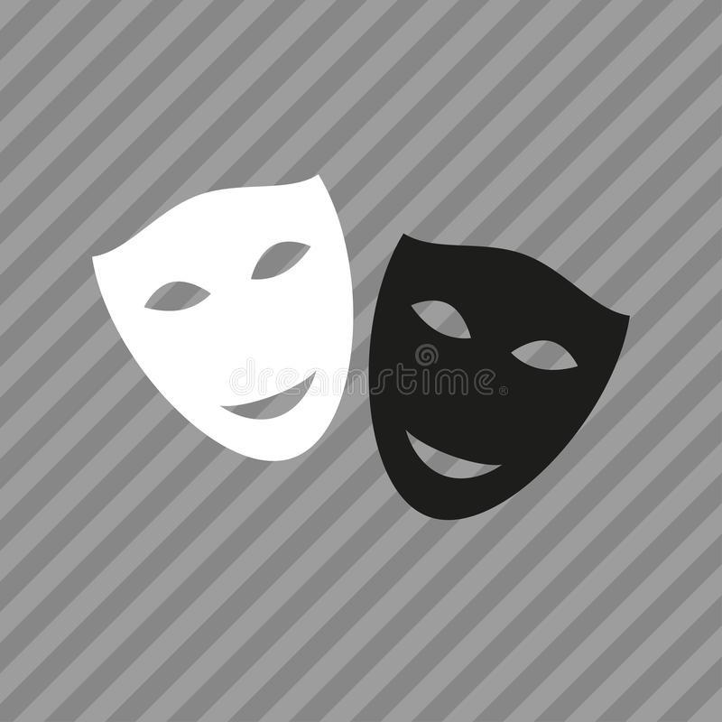 Театральные маски черно белые картинки 017