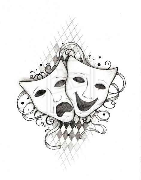 Театральные маски черно белые картинки 018