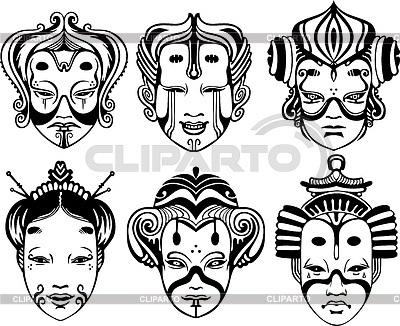 Театральные маски черно белые картинки 019