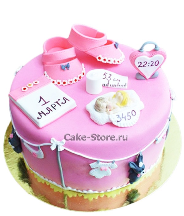 Торт с рождением дочки 009