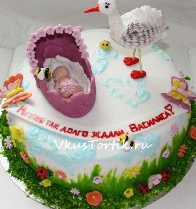 Торт с рождением дочки 019