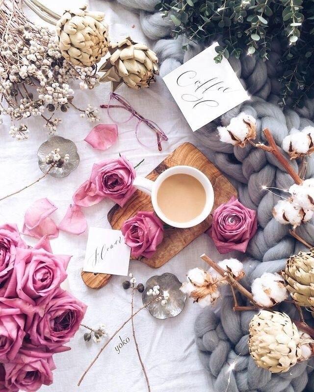 Утро нежность кофе картинки цветы004