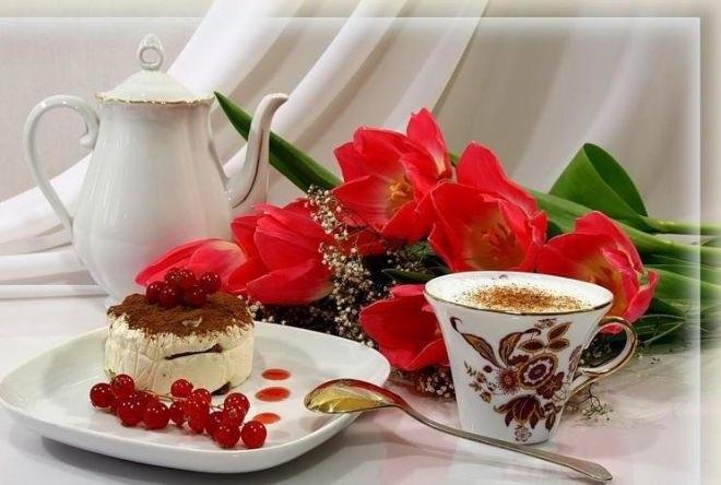 Утро нежность кофе картинки цветы015