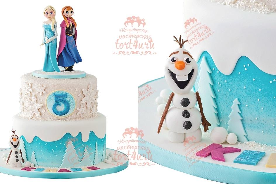 Холодное сердце торт двухъярусный 019
