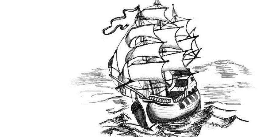Картинка корабль черно-белая