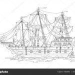 Черно-белый рисунок корабль | наслаждайтесь
