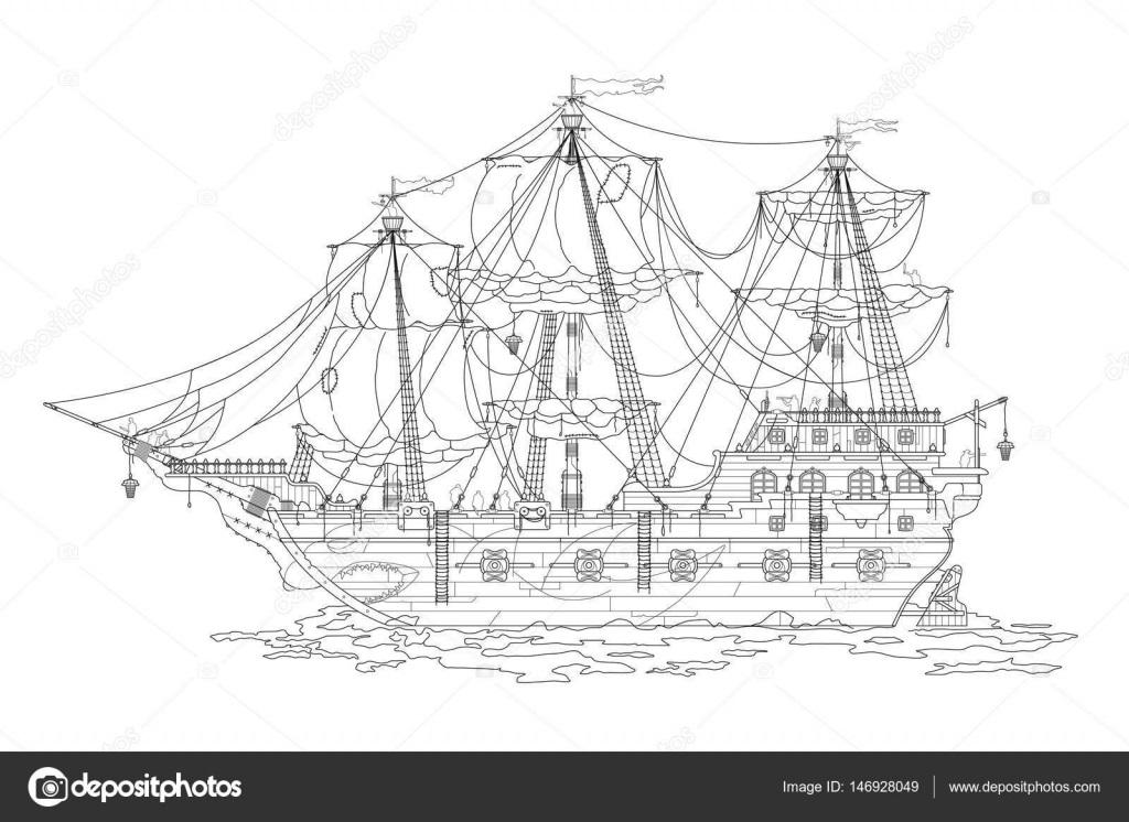 Черно белый рисунок корабль 017