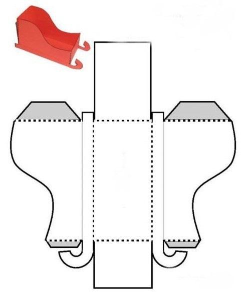 Шаблон из картона сани деда мороза 002