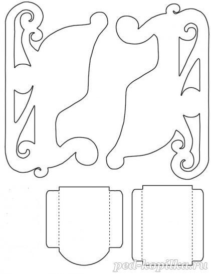 Шаблон из картона сани деда мороза 003