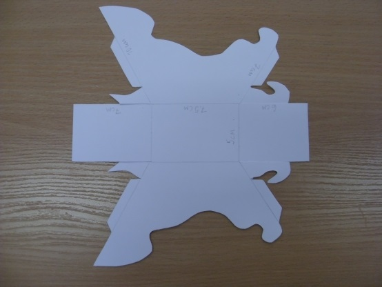 Шаблон из картона сани деда мороза 017