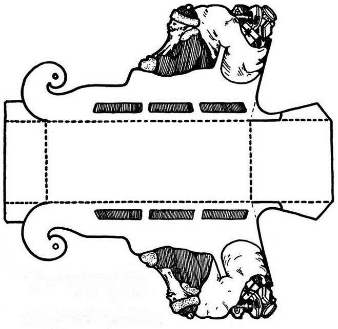 Шаблон из картона сани деда мороза 021