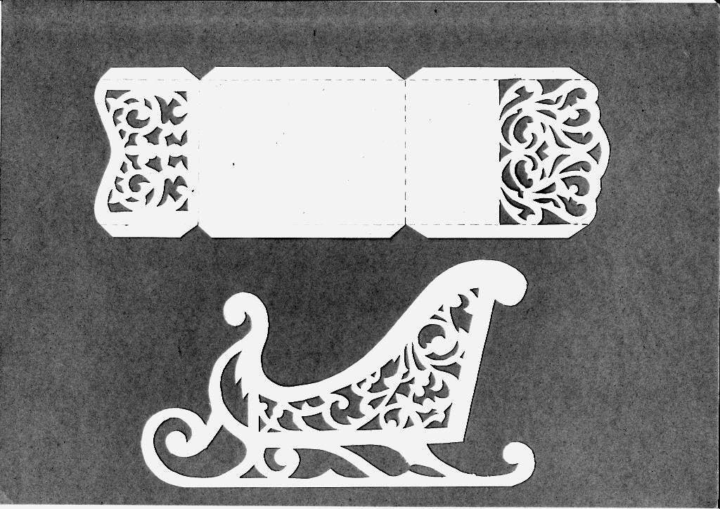 Шаблон из картона сани деда мороза 026
